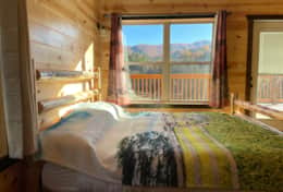 King size bed with Smoky Mountain View