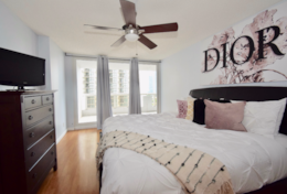 Master bedroom, king bed, balcony access, Roku streaming tv, walk in closet, master bathroom