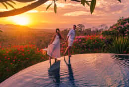 Beautiful sunset views from villa Gajah behind the volcanoes on Java