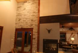 Rustic stone and wood details throughout the lodge