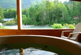 Hot tub with view of river