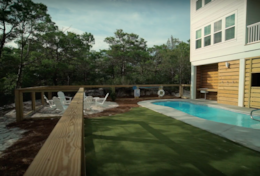 The outdoor game area is perfect for bocce, ladder toss or corn hole.