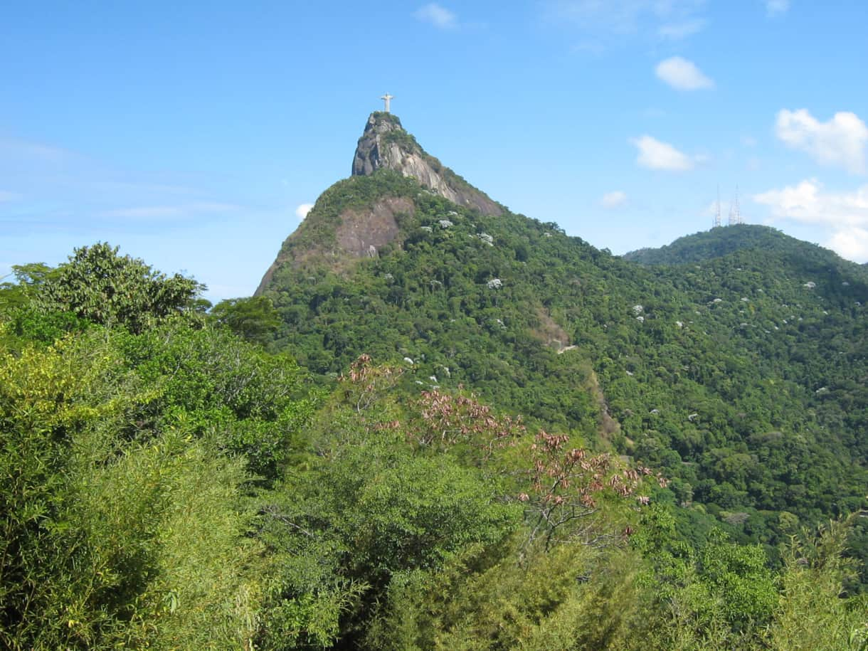 Street view of Corcovado mountain and the Christ statue