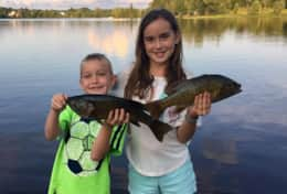 The kids will love to catch fish right of our dock!