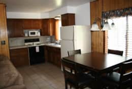 cabin 5 fully functional kitchen and dining room