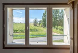 View over vineyards from upstairs twin bedroom