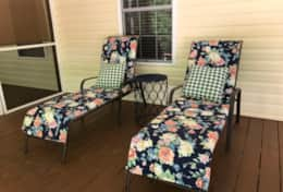 Lounge chairs on back porch