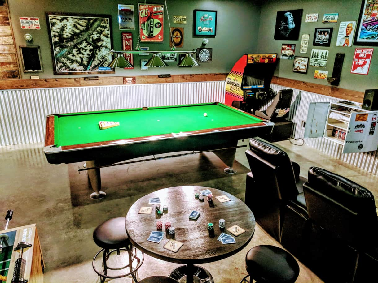 Pool table, darts, fooseball, Daytona 500...