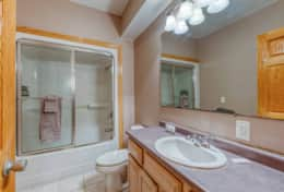Lower level full bathroom with fan heater