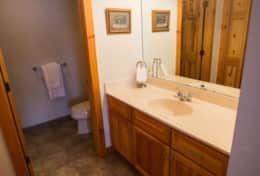 Master Suite Bathroom with toilet and shower room. Master bedroom upstairs.