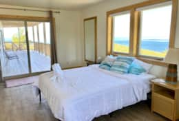 Queen bedroom overlooking Lake Michigan