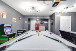 Game Room with Pool Table, Ping Pong, Dart Board, Game Systems and Dual TV's