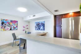Fully equipped kitchen, dining area