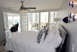 Master bedroom, Private balcony, Roku streaming tv, queen bed, Private bathroom, walk in closet