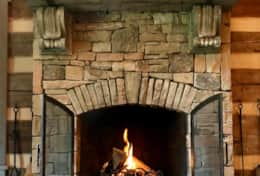 Hand Stacked Stone Fireplace
