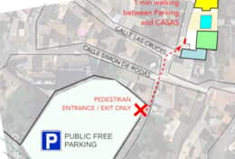 Map to find public & free parking in Pinos del Valle and foot path to our houses