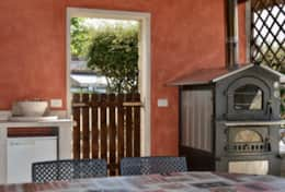 The pizza oven in the outside kitchen