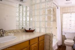 Bathroom with heated floors and senior friendly amenities.