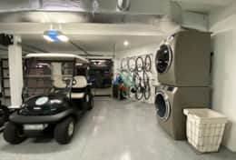 Garage, golf cart, bikes and washer and dryer