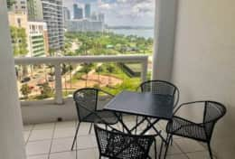 Furnished balcony with views of Biscayne Bay and par