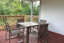 Back patio with table and chairs for 4.