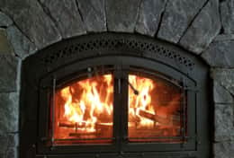 cozy wood burning fireplace with free firewood to use