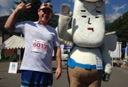 Hanging out with Murao the Hakuba Mascot at the start of the annual Hakuba Trail Run