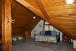 Bed, The Galena Log Home, Galena IL - Vacation Rental Home