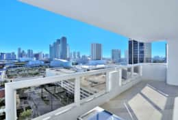 Furnished balcony, views of Biscayne Bay and downtown Miami
