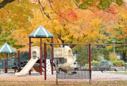 Playground and splashpad at ClanGregor Square