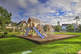 Lower and upper playgrounds and green spaces.