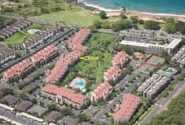 That's our ground floor unit at the yellow arrow; look how close too the beach.  3 minute easy walk.