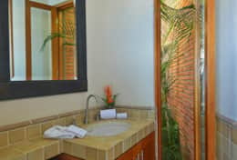 Poolside powder room
