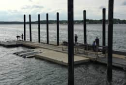 Fishing piers are located right across the street from the home