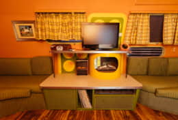 Record Player, TV w/DVD Player, Fireplace