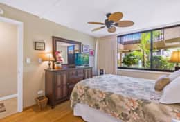 The master bedroom has an A/C and ceiling fans to cool down the room when needed.