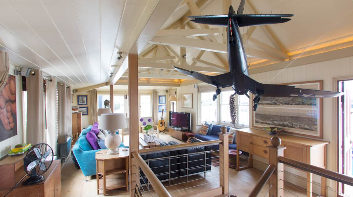 The Harpy airplane living room view