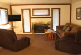 cabin 4 living room sleeper sofa fireplace and smart TV - Copy