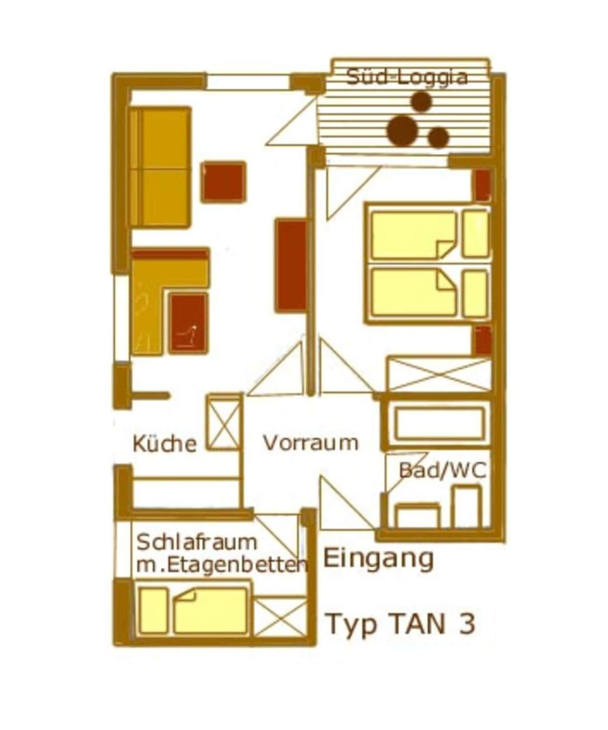 Appartements Vilsalp TAN 3 süd Grundriss