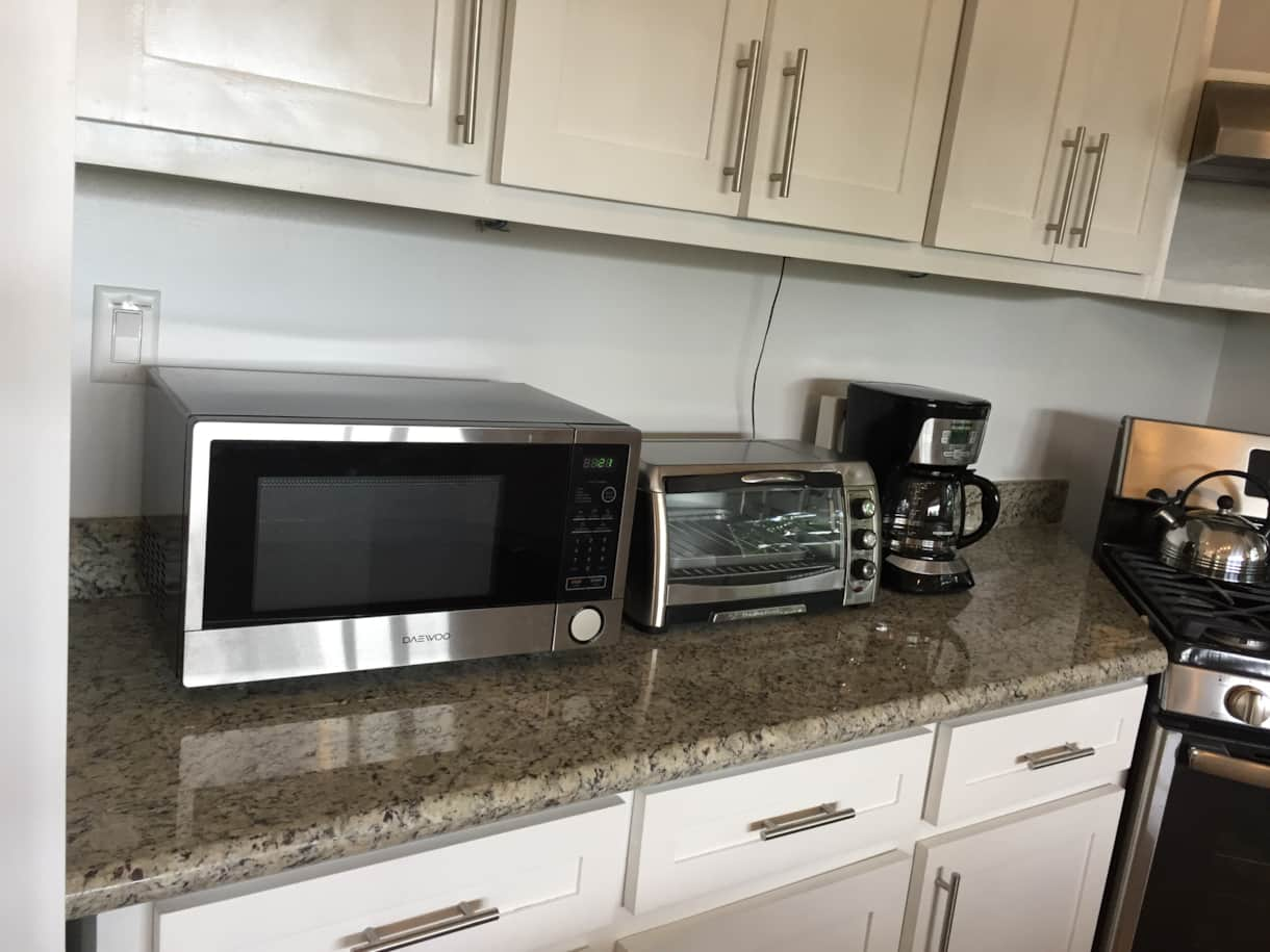 Microwave, toaster oven and coffee maker