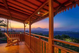 Volcano sunset views and sea view from your verandah