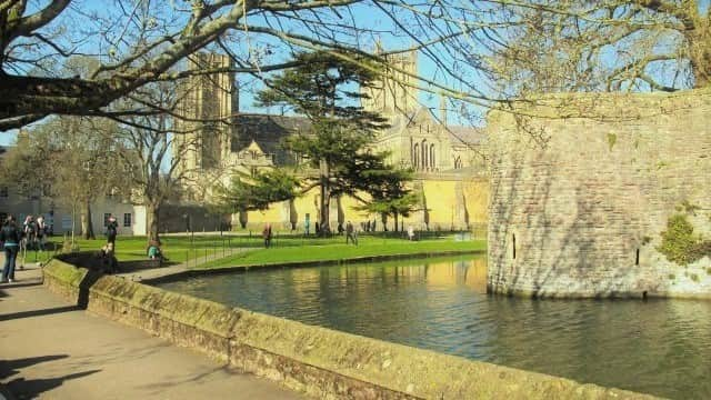 Bishop's Palace moat with Wells Cathedral in the backround