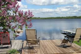 Spring Lilacs blooming by the deck overlooking the lake