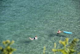 Swimming off Little Perhaver beach at Gorran Haven