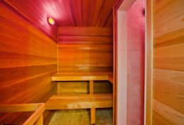 Indoor sauna right off the bathroom for switching to hot sauna to cool shower!
