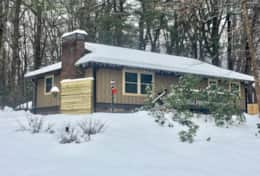 Laurelwood Cabin looks lovely on a rare snow day