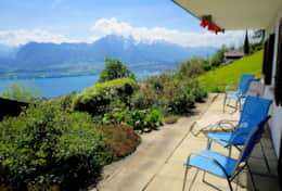 Spacious terrace overlooking Lake Thun