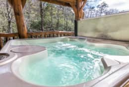 Hot tub on the deck of your log cabin