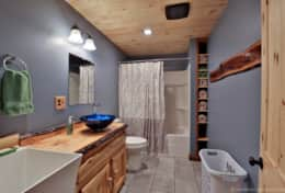 Basement bathroom for kids bunk room