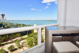 Furnished balcony, amazing views of Biscayne bay and park